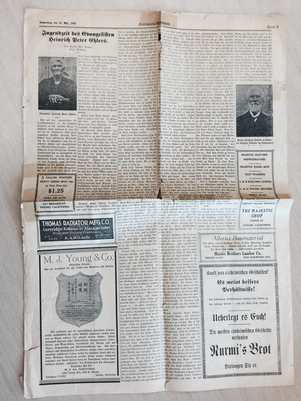 Article about Rev. Ehlers and Rev. Stärkel