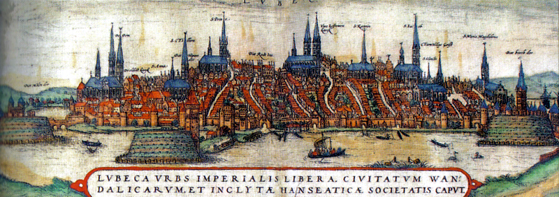 The port city of Lübeck in the 15th century