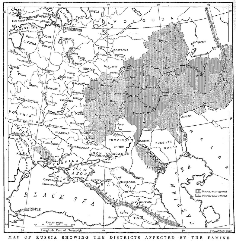 Map of Russia showing 1891-1892 famine area