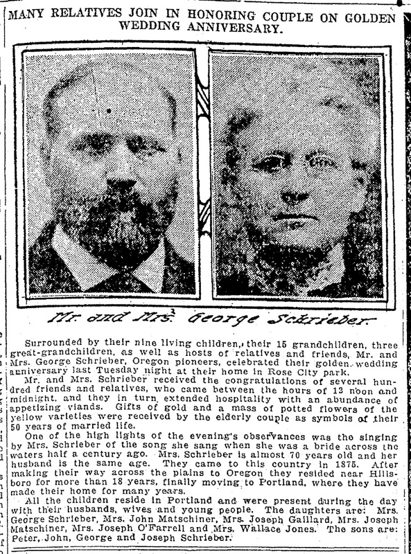 Newspaper article announcing George & Elizabeth Screiber Golden Anniversary