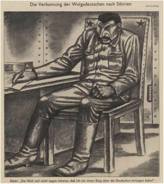 Political cartoon by Erich Schilling depicting Stalin signing the order to banish the Volga Germans to Siberia in 1941.