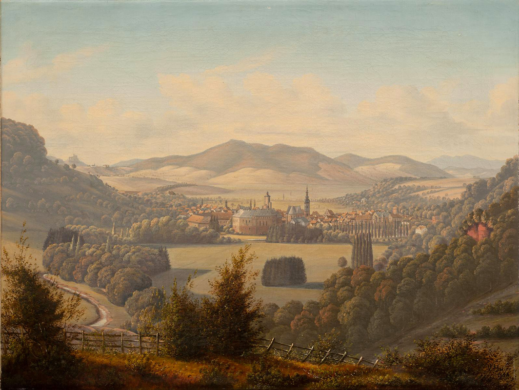 Painting of Büdingen, Germany circa 1856