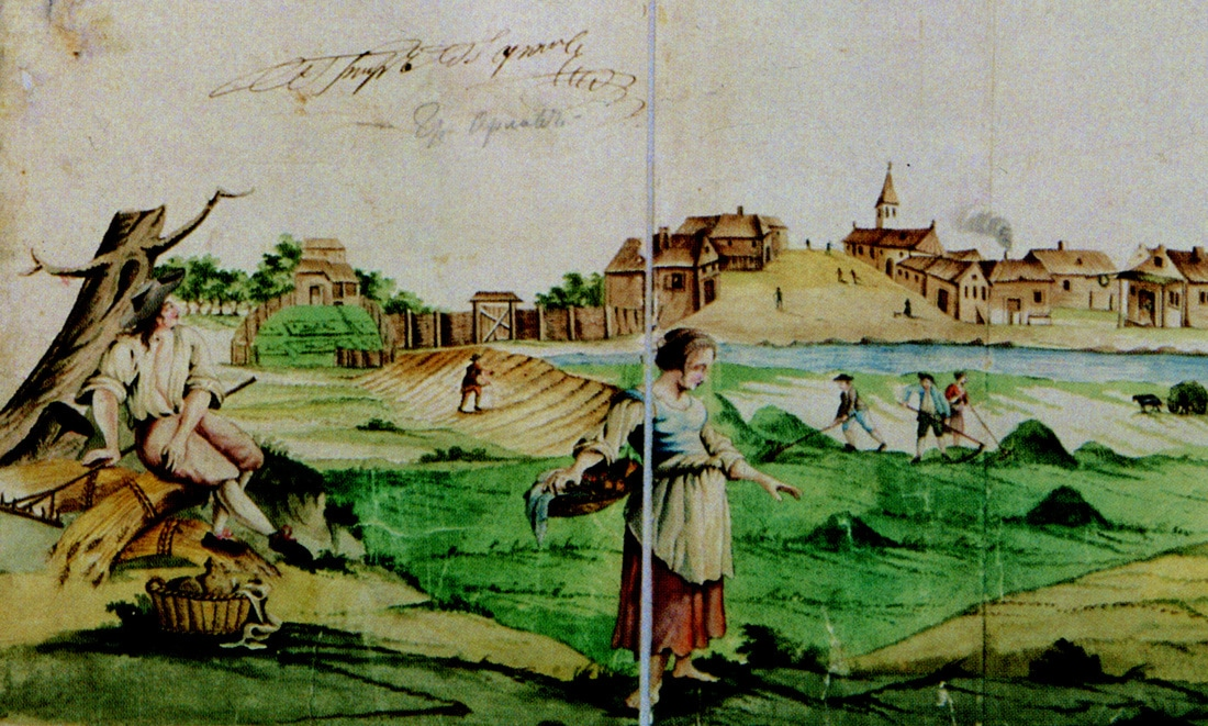Artwork from an idealized 1760's map depicting life in the Volga German settlement area.